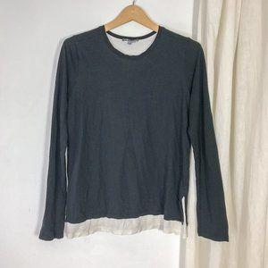 VINCE Black Long sleeve cotton jersey tshirt black